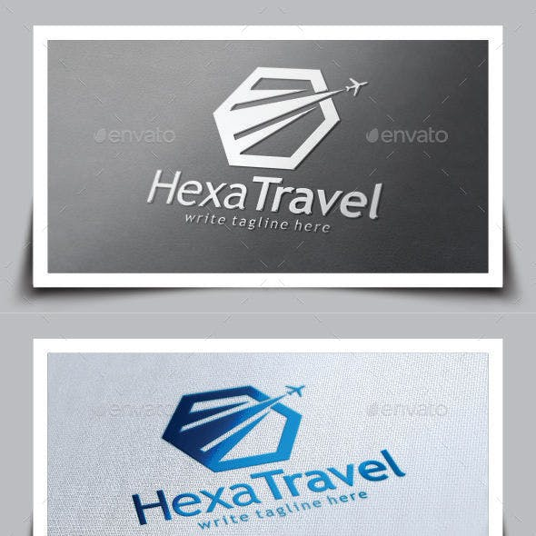 Hexagon Travel Logo Template