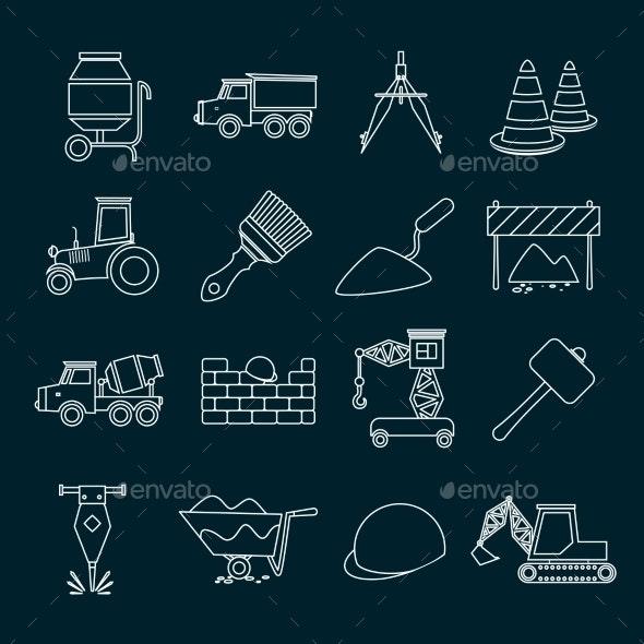 Construction Icons Set Outline - Web Technology