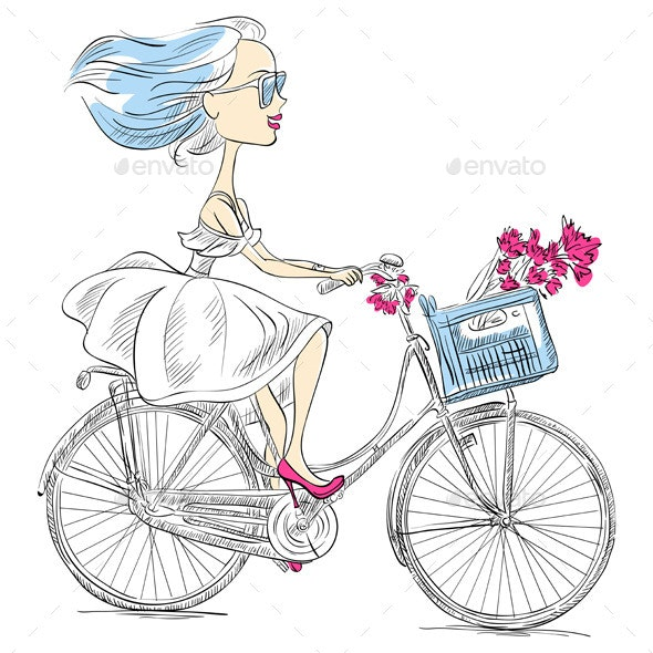 Girl Rides a Bicycle - People Characters