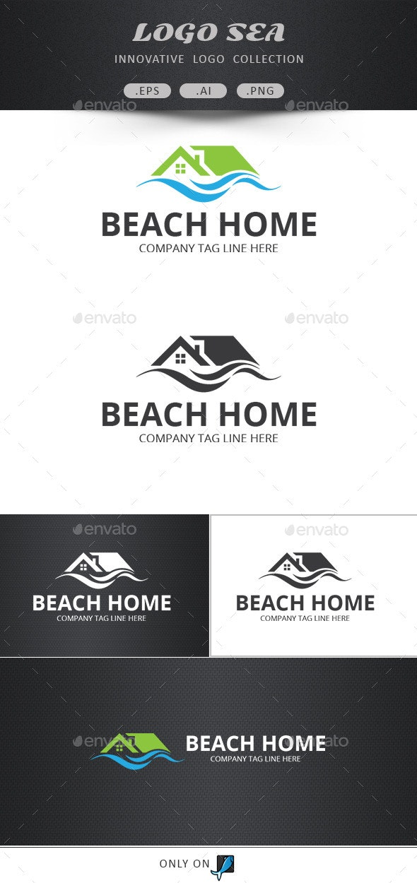 Beach Home Vector Logo