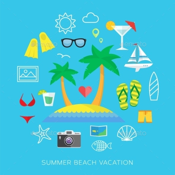 Summer vacation flat vector icon set - Travel Conceptual