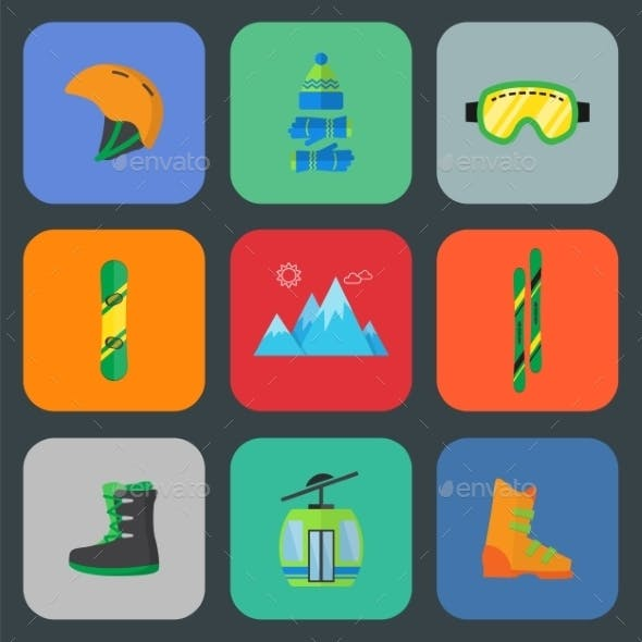 Ski and Snowboard Flat Icon Set