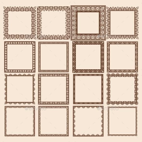 Set of Square Frames - Patterns Decorative