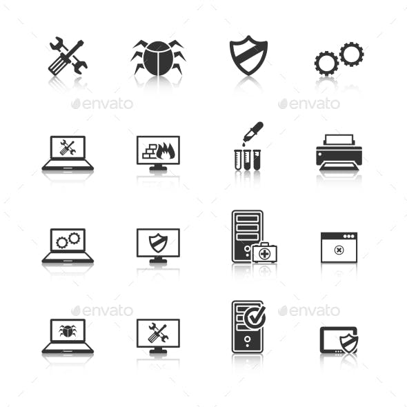 Computer Repair Icons Set