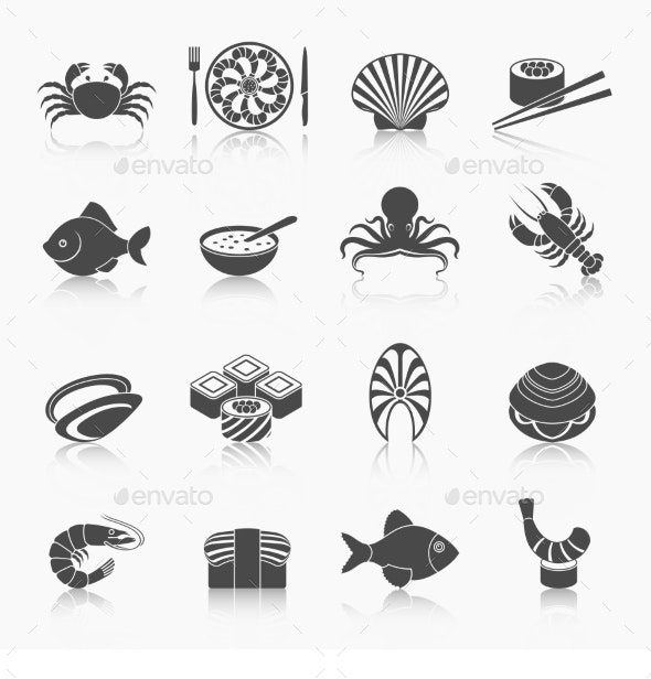 Seafood Icons Set - Web Technology