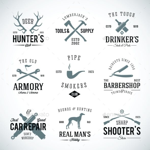 Set of Vintage Labels With Retro Typography