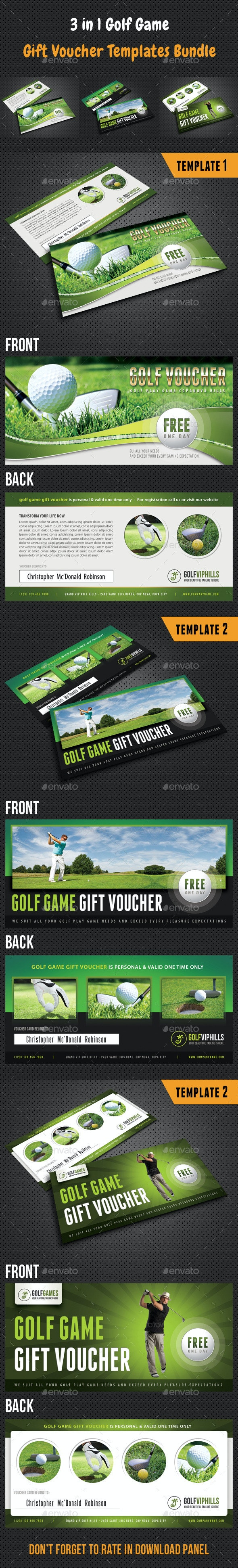3 in 1 Golf Game Gift Voucher Bundle - Cards & Invites Print Templates