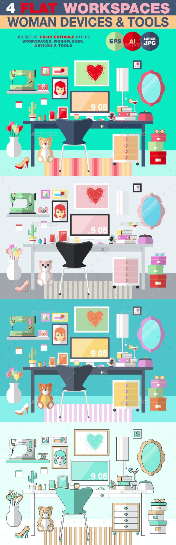 Woman Workspace Flat Design - Objects Vectors