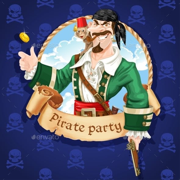 Pirate with Monkey Throw Up Golden Coin