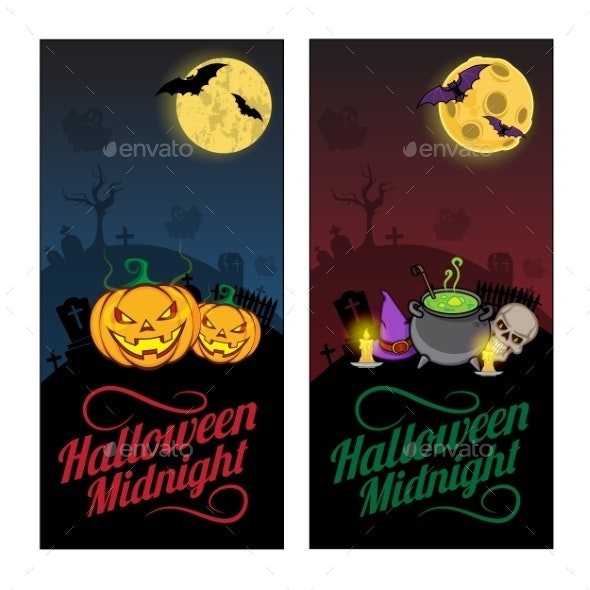 Halloween Banners or Flyers Concept.  - Halloween Seasons/Holidays