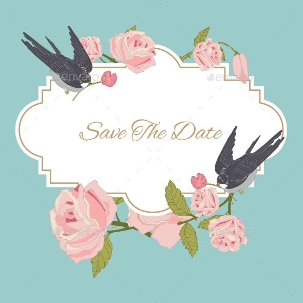 Vintage Flowers Background with Birds - Borders Decorative