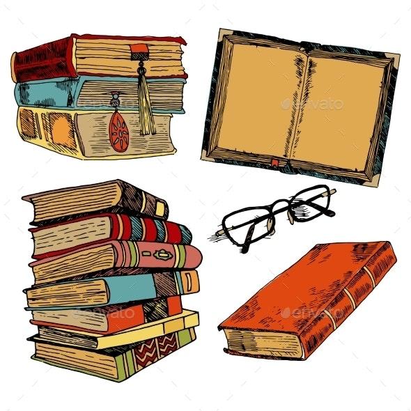 Vintage Books Color Sketch - Miscellaneous Vectors