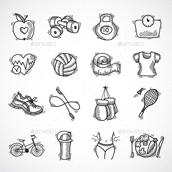 Fitness Sketch Icons Set - Sports/Activity Conceptual
