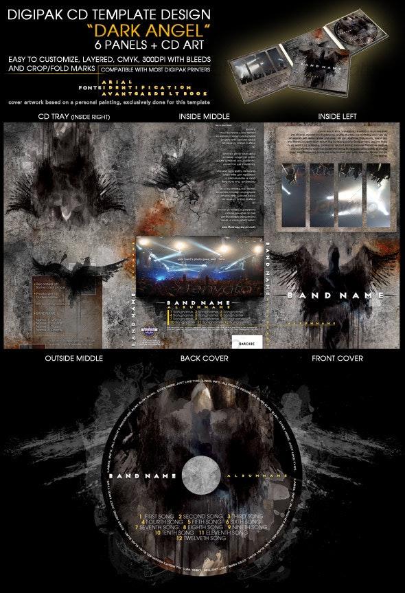 Layered professional 6 panel CD template design  - CD & DVD Artwork Print Templates