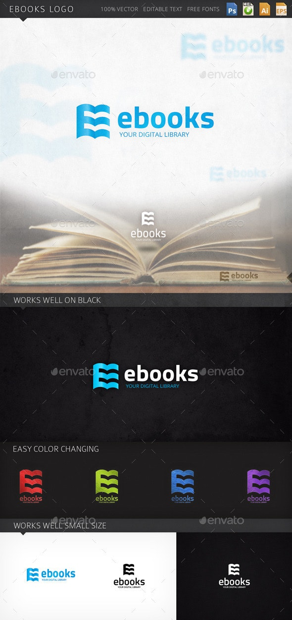 Ebooks Letter E Books Logo Template - Letters Logo Templates