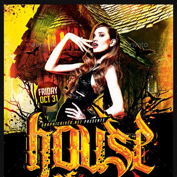 House Of Horros Party   Flyer Template PSD