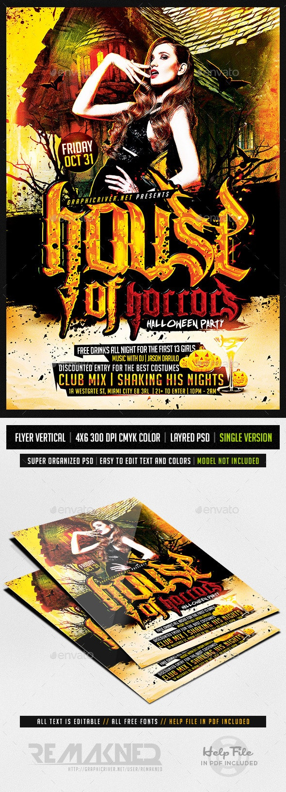 House Of Horros Party | Flyer Template PSD - Flyers Print Templates