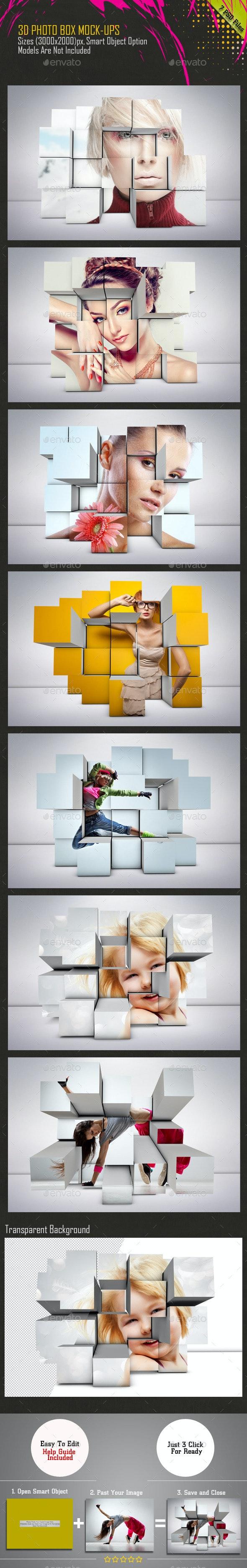 3D Photo Box Mockups - Miscellaneous Product Mock-Ups