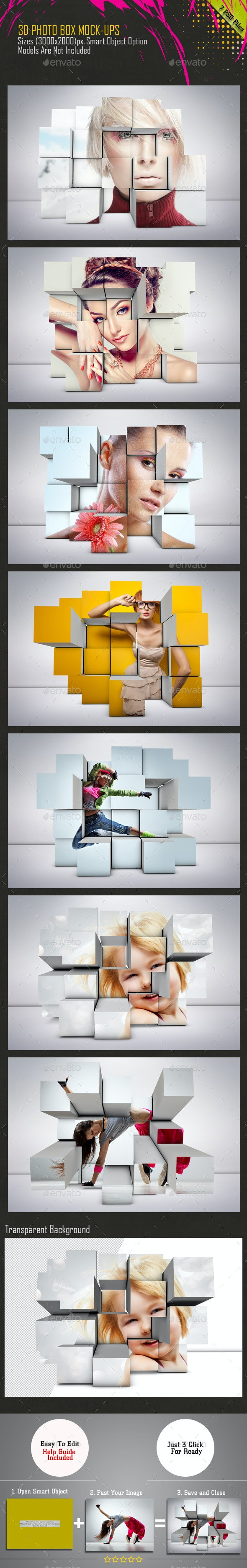 3D Photo Box Mockups - Miscellaneous Product Mock-Ups