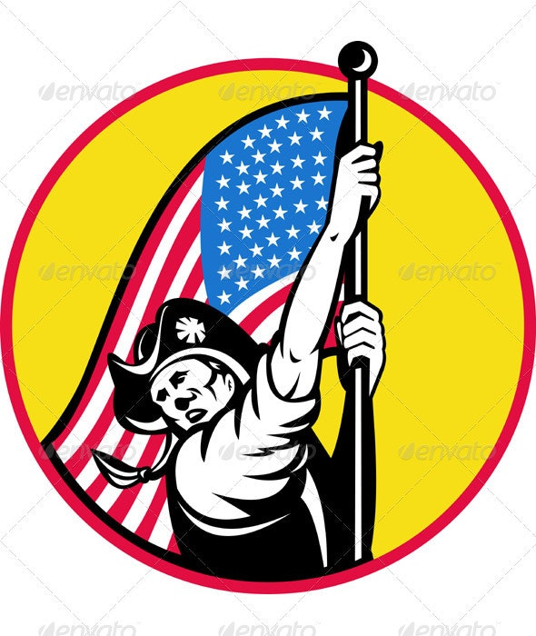 American Minuteman Revolution Militia With Flag - Miscellaneous Seasons/Holidays