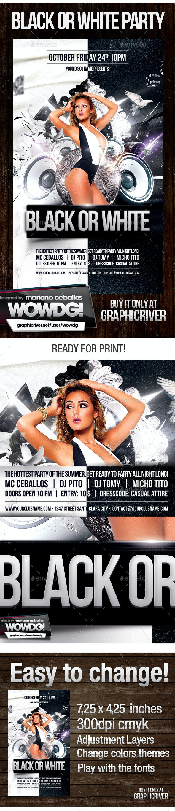 Black or White - Flyers Print Templates