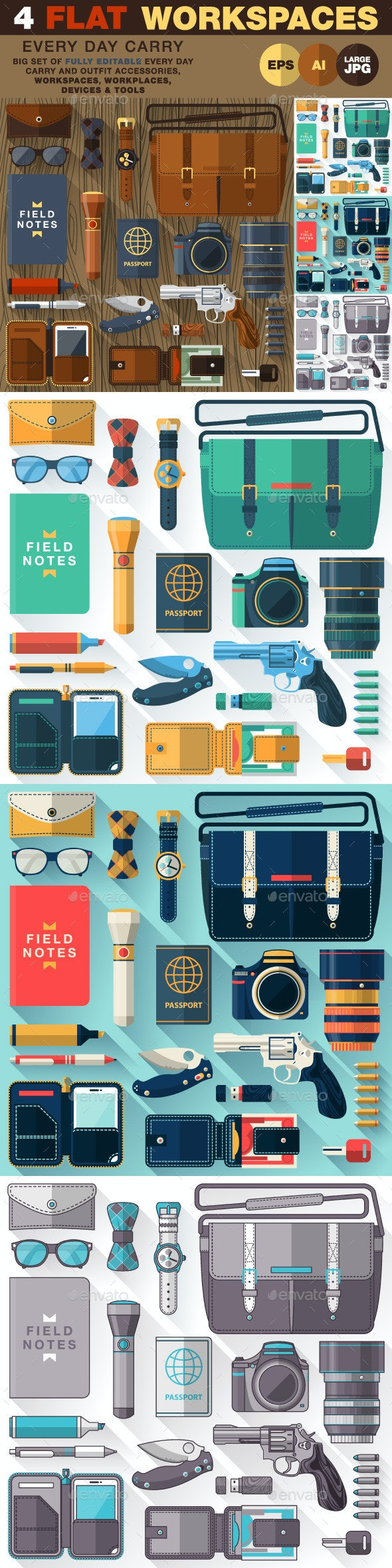 Every Day Carry Work space  - Objects Vectors