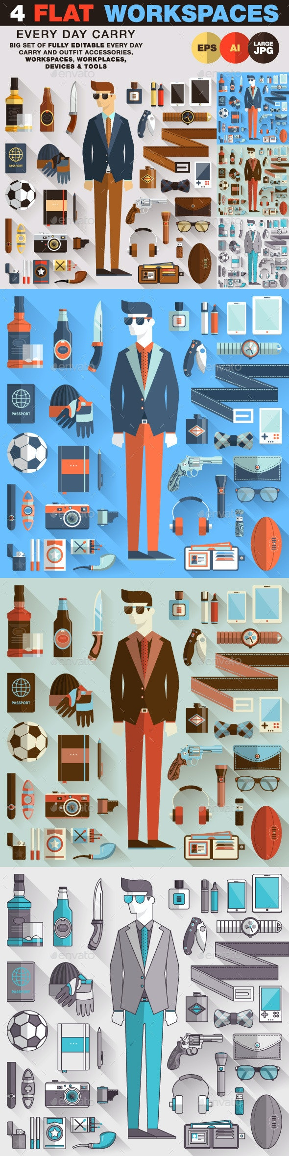 Every Day Carry Style Man Stuff - Objects Vectors