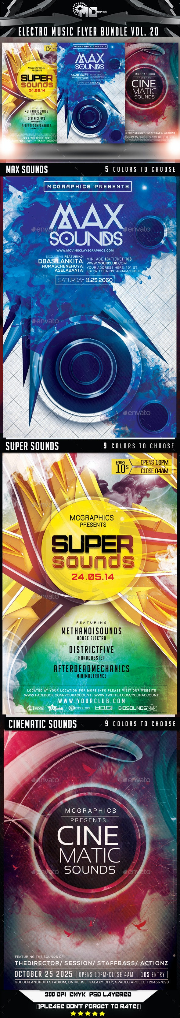 Electro Music Flyer Bundle Vol. 20 - Flyers Print Templates