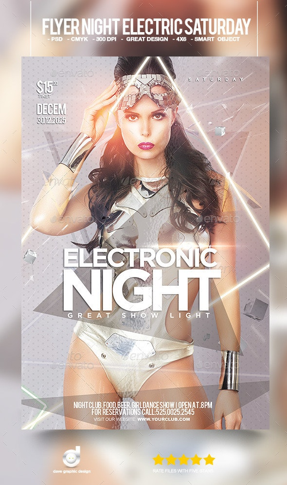 Flyer Night Electric Saturday - Clubs & Parties Events