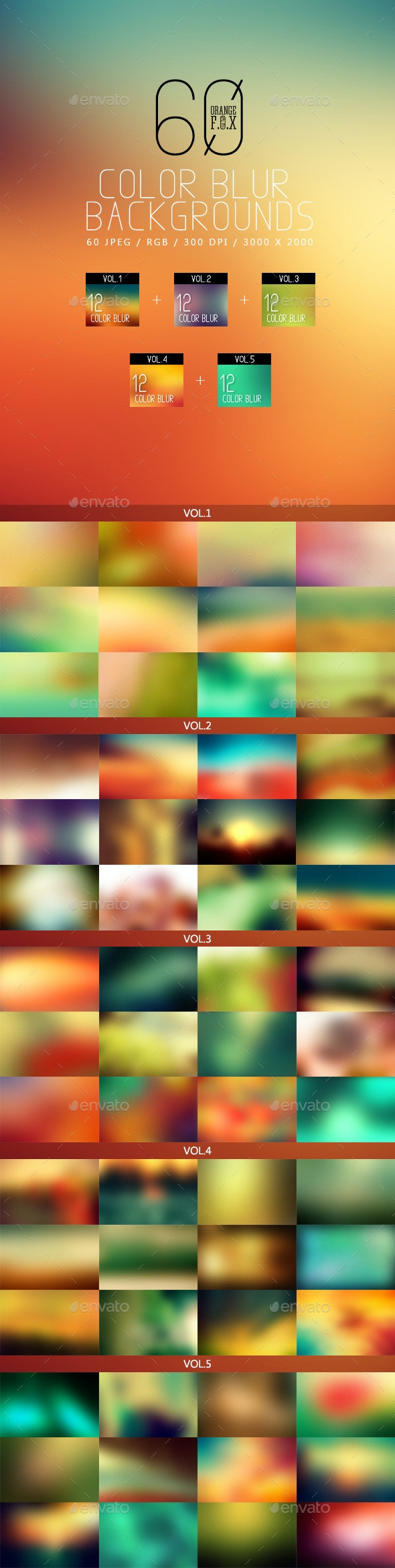 60 Color Blur Backgrounds Bundle - Abstract Backgrounds