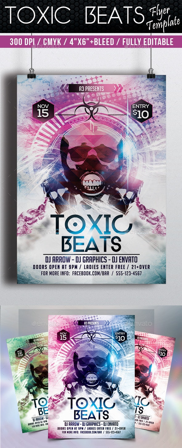 Toxic Beats Flyer Template - Clubs & Parties Events