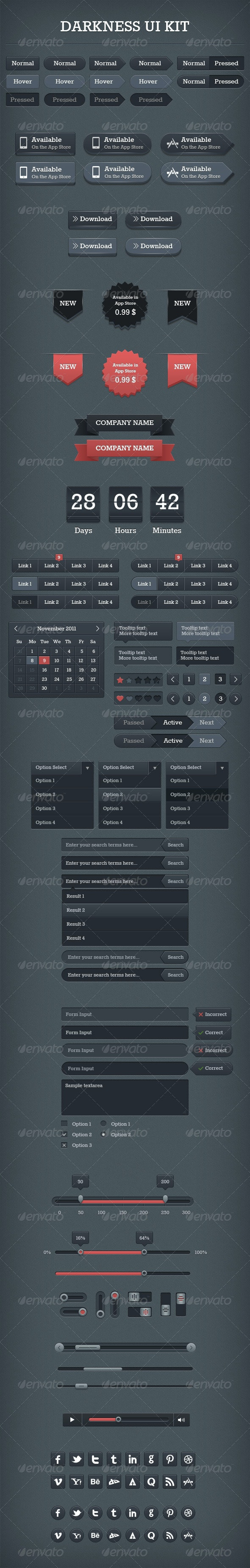 Darkness UI Kit - User Interfaces Web Elements