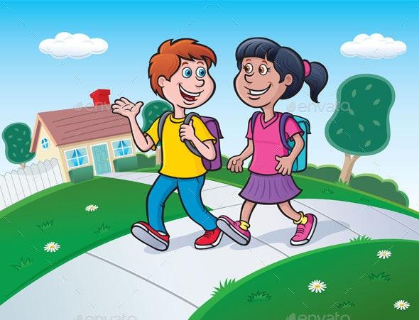 Two Kids Walking To School - People Characters
