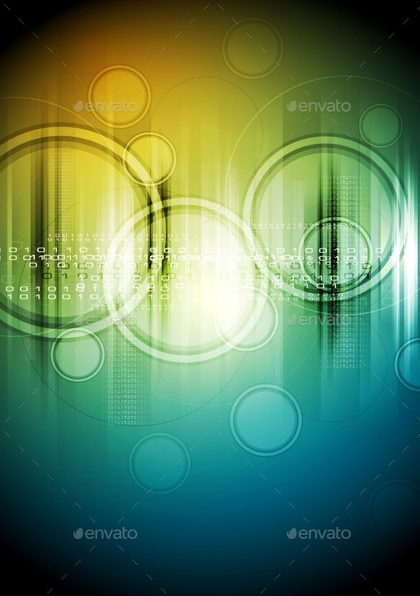 Abstract Tech Background with Circles - Backgrounds Decorative