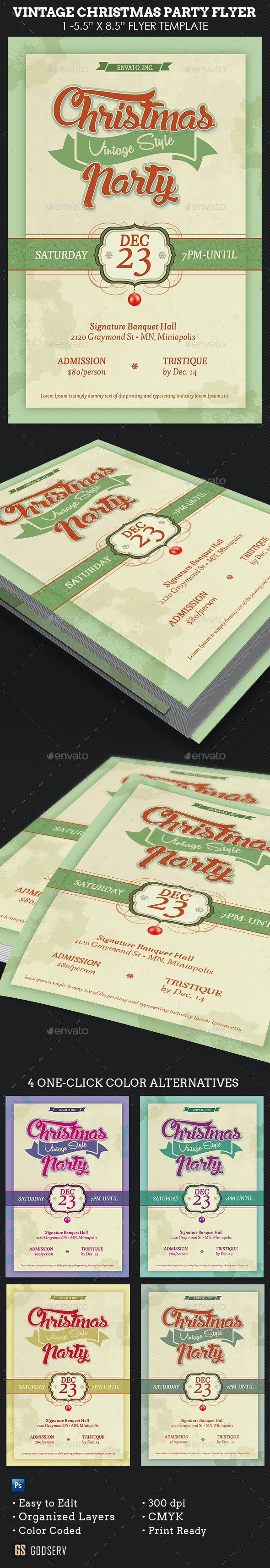 Vintage Christmas Party Flyer Template - Holidays Events