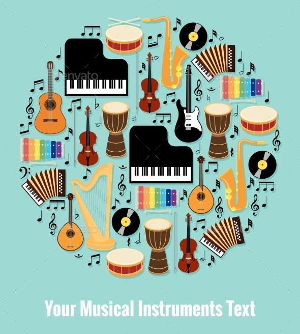 Assorted Musical Instruments Design with Text Area - Miscellaneous Vectors