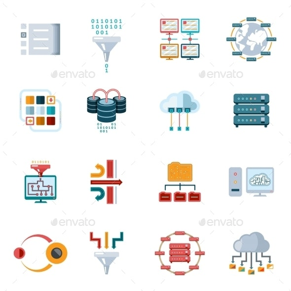 Flat Filtering Data Icons - Computers Technology