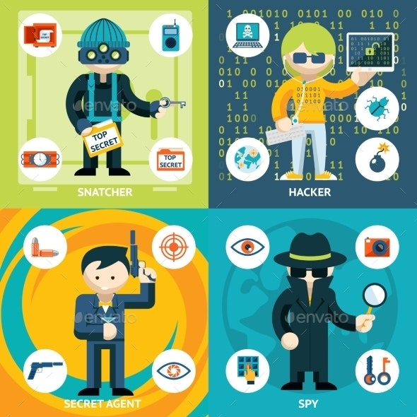 Vector Espionage and Criminal Activity Graphics - People Characters