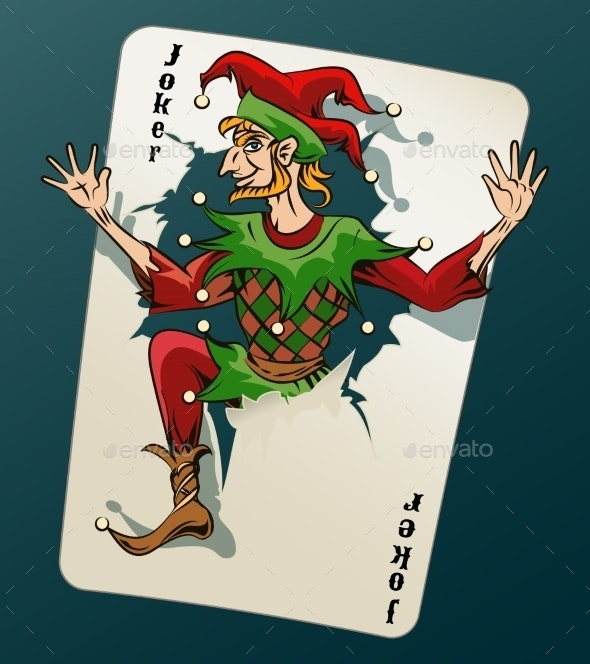 Cartooned Joker Jumping Out From Playing Card - Miscellaneous Vectors