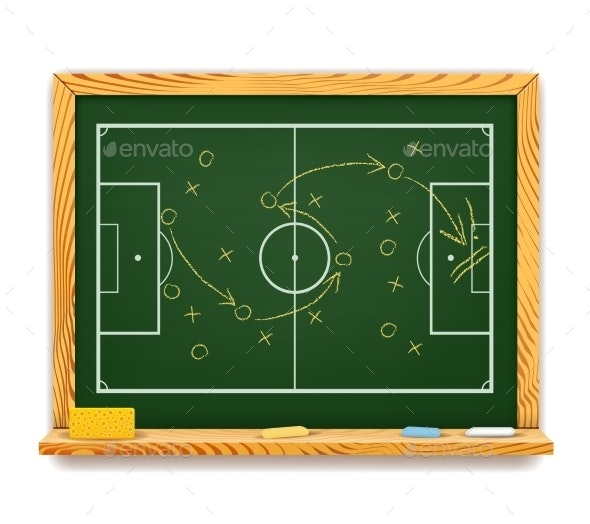 Blackboard showing a schematic plan for football - Sports/Activity Conceptual