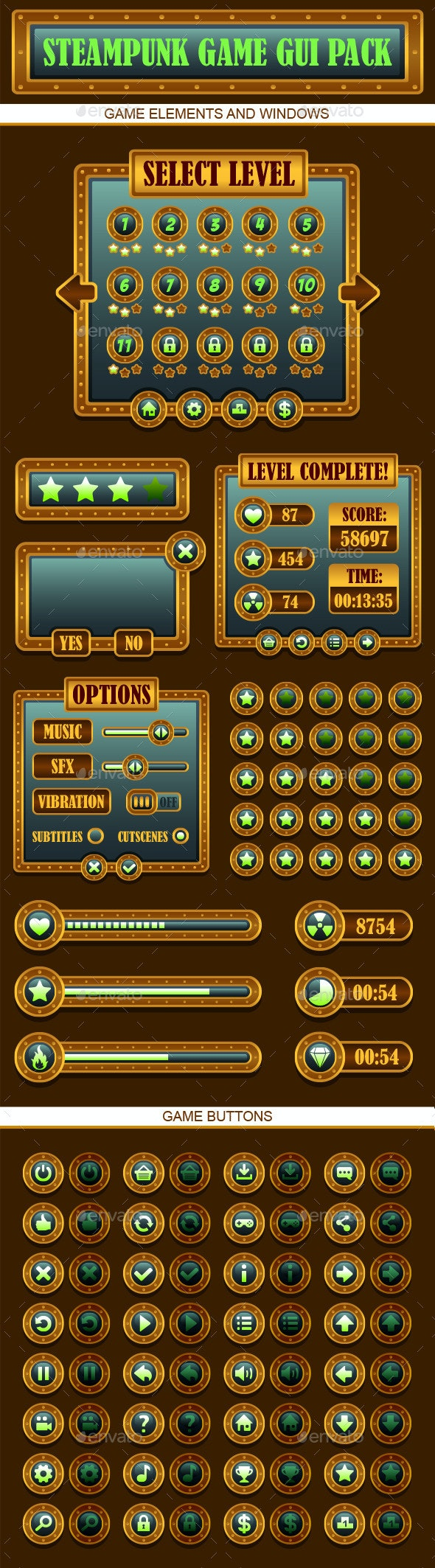 Steampunk Games GUI Pack - User Interfaces Game Assets