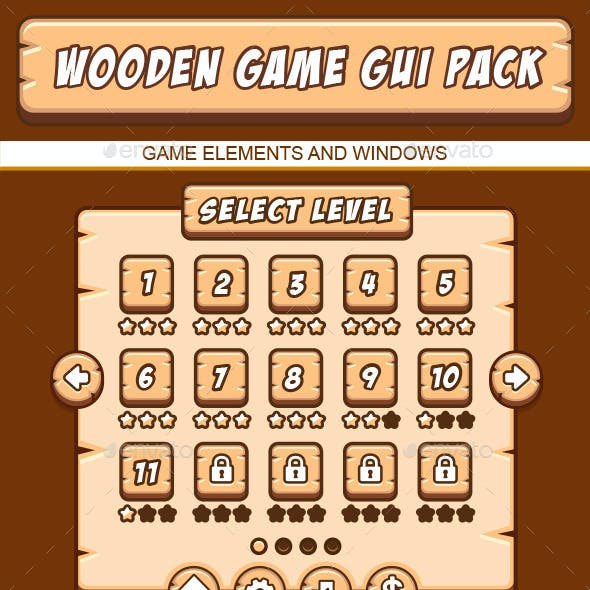 Wooden GUI Pack for Games