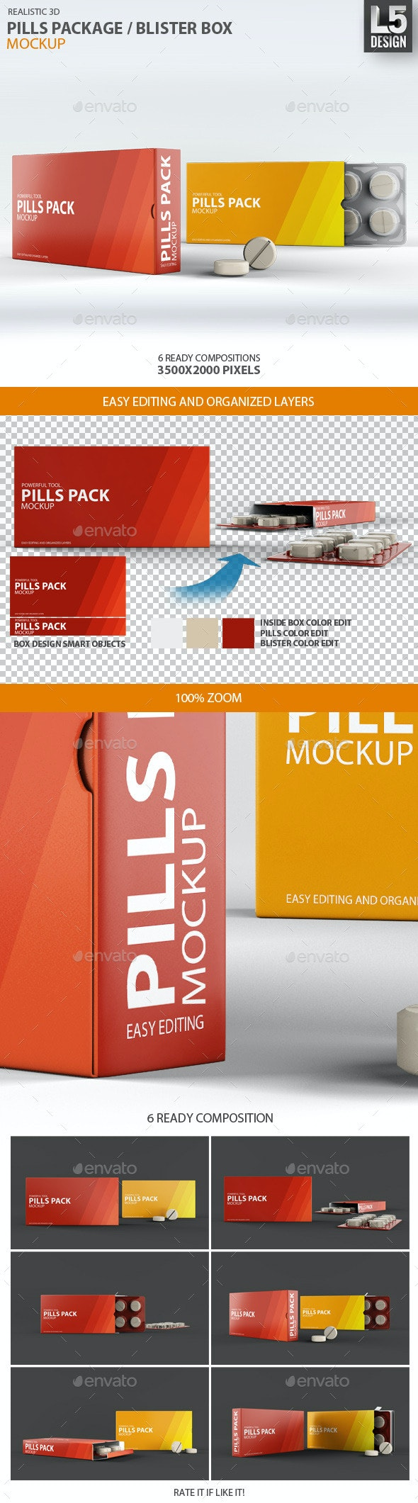 Pills Package Blister Box Mock-up - Miscellaneous Packaging