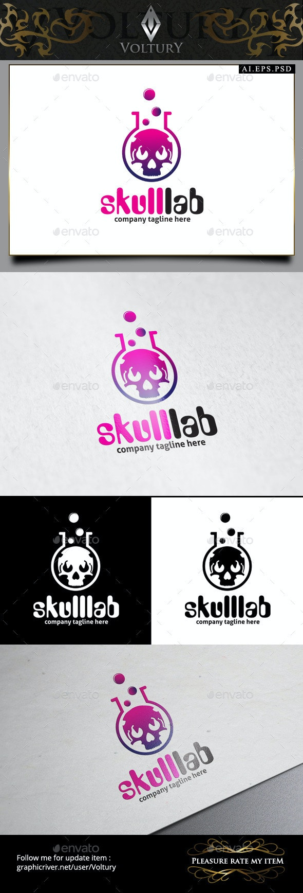 Skull Lab Logo - Symbols Logo Templates