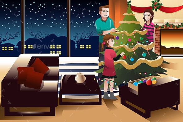 Family Decorating Christmas Tree - Christmas Seasons/Holidays