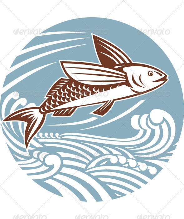 Flying Fish With Waves Retro Style - Animals Characters