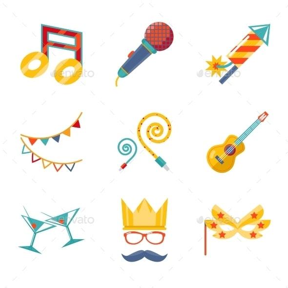 Modern Flat Party Icons - Christmas Seasons/Holidays