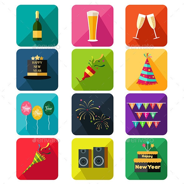 New Year Party Icons - New Year Seasons/Holidays