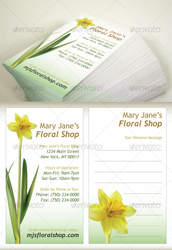 Floral Shop Business Card Template - Industry Specific Business Cards