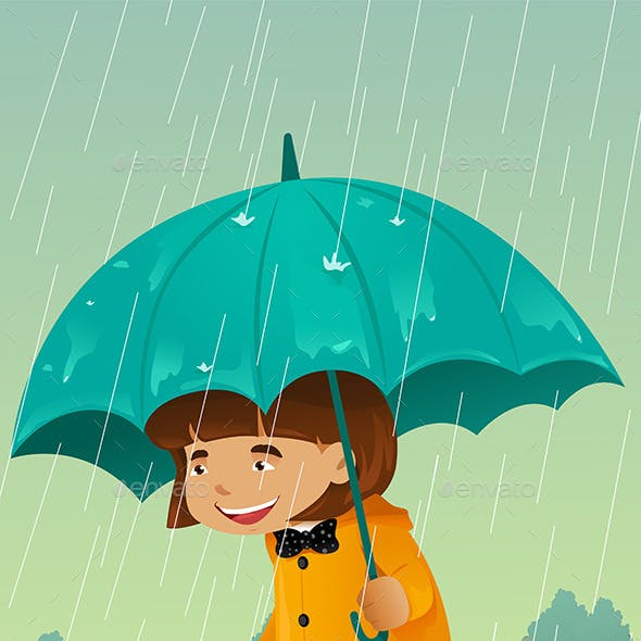 Girl with Umbrella and Raincoat Playing in the Mud